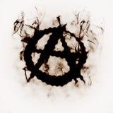 La anarquía firma adentro el humo Foto de archivo