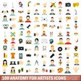 la anatomía 100 para los iconos de los artistas fijó, estilo plano stock de ilustración