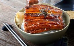 La anguila japonesa asó a la parrilla con arroz o Unagi pone Fotografía de archivo libre de regalías