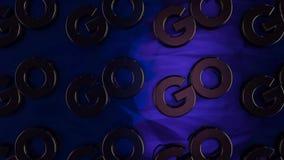 La animación abstracta de los logotipos tridimensionales del cromo 'va 'a colocar en superficie azul brillante animaci?n Motivaci stock de ilustración