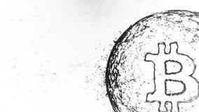 La animación abstracta de la moneda del bitcoin firma adentro ciberespacio digital stock de ilustración