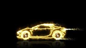 La animación abstracta del coche estupendo futurista de oro hecho con los wireframes del haz luminoso en negro aisló el fondo fut ilustración del vector