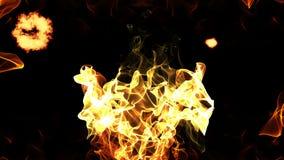 La animación abstracta inconsútil de la fuente del fuego que quema con la chispa de la llama y el calor arruinan la radiación en  ilustración del vector