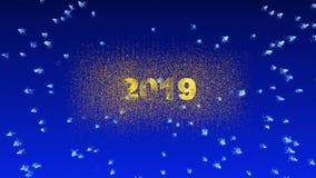 La animación conceptual del Año Nuevo, los fuegos artificiales hermosos aparece a partir de 2019 metrajes