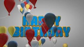 la animación 3D de la celebración del partido del feliz cumpleaños con los globos coloridos y la historieta linda mandan un SMS p libre illustration