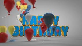 la animación 3D de la celebración del partido del feliz cumpleaños con los globos coloridos y la historieta linda mandan un SMS p stock de ilustración