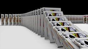 la animación 3D de los naipes que caen abajo y el efecto otro les gusta un dominó en 4k ultra HD ilustración del vector