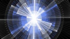 La animación de la ciencia ficción, la energía blanca y azul desconocida irradia, animación del círculo en fondo negro libre illustration