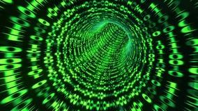 La animación de colocación de un código binario hace un túnel - verde