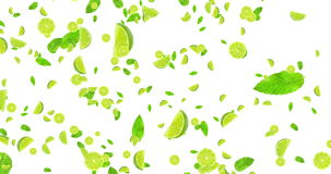 La animación de Digitaces da fruto las rebanadas de la cal de la fruta cítrica y vuelo de la hoja de la menta en el fondo blanco, ilustración del vector