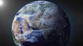 La animación de la tierra enfoca adentro en Rusia stock de ilustración