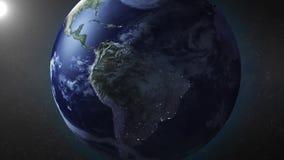 La animación de la tierra enfoca adentro en Suramérica stock de ilustración