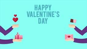La animación de la mano trae el regalo, el chocolate, el sobre y el corazón para el día de San Valentín feliz