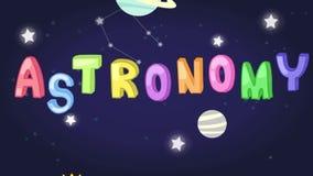 La animación del jefe infantil del tema de la ciencia de la astronomía con el texto y el planeta coloridos protagoniza el icono d ilustración del vector