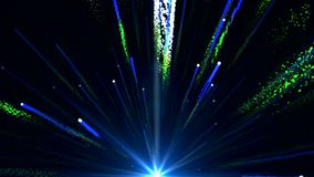 La animación inconsútil de la luz azul colorida abstracta y los fuegos artificiales que tiran en el cielo y con la partícula bril ilustración del vector