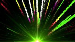 La animación inconsútil de la luz verde colorida abstracta y los fuegos artificiales que tiran en el cielo y con la partícula bri libre illustration