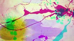 La animación inconsútil de la pintura del color o tinta de la acuarela, la salpicadura y el descenso el salpicar en el papel polv ilustración del vector