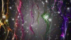 La animación maravillosa de la Navidad con la mudanza agita + los copos de nieve + las estrellas, 4096x2304 lazo 4K ilustración del vector