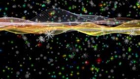 La animación maravillosa de la Navidad con la mudanza agita + los copos de nieve + las estrellas, 4096x2304 lazo 4K libre illustration