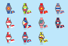 La ANSA de Watch&Flag del icono (comunidad de la ANSA) Imagen de archivo libre de regalías