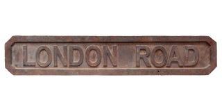 La antigüedad aherrumbró placa de calle del camino de Londres Foto de archivo