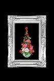 La antigüedad florece el marco blanco y negro aislado en backgrou negro Foto de archivo libre de regalías