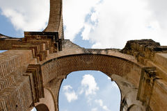 La Antigua Guatemala Cathedral. Low angle view of arched ruins of San Jose Cathedral, La Antigua Guatemala city, Guatemala royalty free stock images