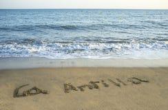 La Antilla écrit dans le sable à la plage, Huelva, Espagne Images stock