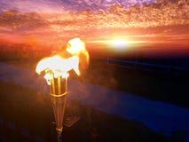 La antorcha flameó el cielo Foto de archivo
