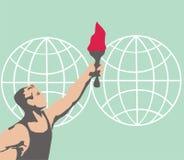 La antorcha olímpica viaja en todo el mundo Campeón olímpico Juegos Olímpicos Imagenes de archivo
