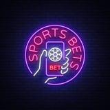 La apuesta de los deportes es una señal de neón Diseñe la plantilla, logotipo de neón del estilo, bandera brillante, publicidad d ilustración del vector