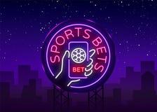 La apuesta de los deportes es una señal de neón Diseñe la plantilla, logotipo de neón del estilo, bandera brillante, publicidad d libre illustration