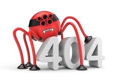 La araña roja del robot y redacta el error 404 Metáfora del Internet Imagen de archivo libre de regalías