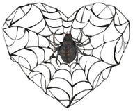 La araña tejió el web de la forma del corazón Símbolo del corazón del amor Corazón gótico del amor Foto de archivo