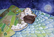 La arca en el puerto stock de ilustración