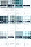 La arcilla del ébano y los modelos geométricos coloreados lochinvar hacen calendarios 2016 Stock de ilustración