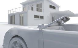 La arcilla rinde del coche y de la casa Fotos de archivo