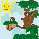 La ardilla en tiempo solar intenta conseguir una tuerca de madera Stock de ilustración