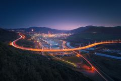 La Arena bridge with car trails in Muskiz. At night royalty free stock photography