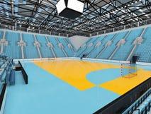 La arena deportiva hermosa para el balonmano con los asientos del azul de cielo y las cajas 3D del VIP rinden Fotos de archivo libres de regalías
