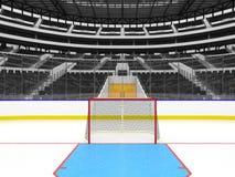 La arena deportiva hermosa para el hockey sobre hielo con negro asienta la caja del VIP Imagen de archivo