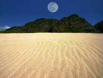 La arena ondulada ajardina con la luna centrada Fotos de archivo libres de regalías