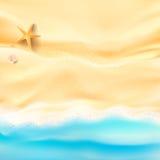 La arena y el mar abstractos del fondo varan la cáscara y la roca de las estrellas de mar Fotografía de archivo
