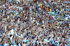La Argentina y ALEMANIA fútbol de 2014 mundiales Foto de archivo