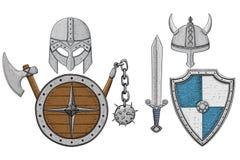 La armadura de Viking fijó - los cascos, los escudos y la espada, hacha Bosquejo dibujado mano coloreado ilustración del vector
