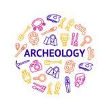 La arqueología firma la línea fina alrededor del anuncio de la plantilla del diseño Vector libre illustration