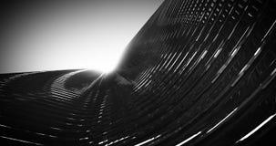La arquitectura metálica oscura Fassade del rascacielos futurista 3D rindió la animación video ilustración del vector
