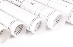 La arquitectura rueda modelos del arquitecto de los planes arquitectónicos Imagen de archivo libre de regalías