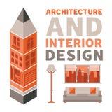 La arquitectura y el diseño interior vector concepto en estilo plano Imagenes de archivo