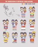 La asociación de los personajes de dibujos animados asiáticos surorientales de las naciones stock de ilustración